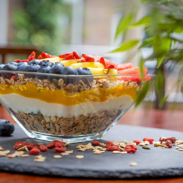 Granola for breakfast served at Clayton Hotel